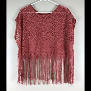 Black Poppy pink fringe top